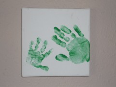 home made canvas hand prints of children