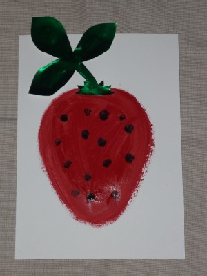 Strawberry painting - art for babies