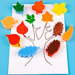 leaf sponge painting set