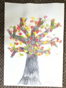 Autumn fingerprint painting