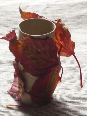 Autumn leaf pen pot