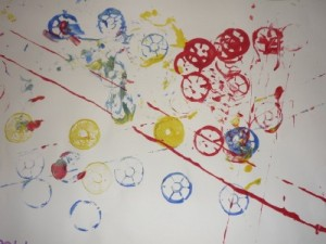 cotton reel printing painting with babies and toddlers