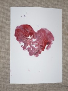 handprint heart painting babies