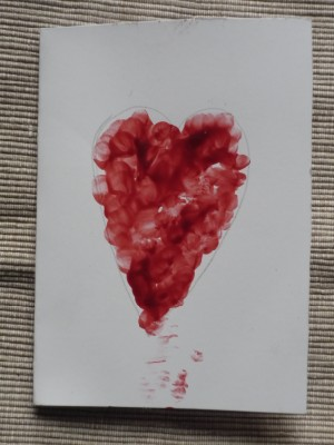 Make a fingerprint heart card- good for Valentine's Day or Mother's Day