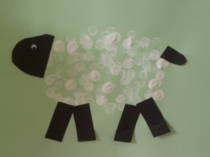 fingerprint sheep easy painting with toddler