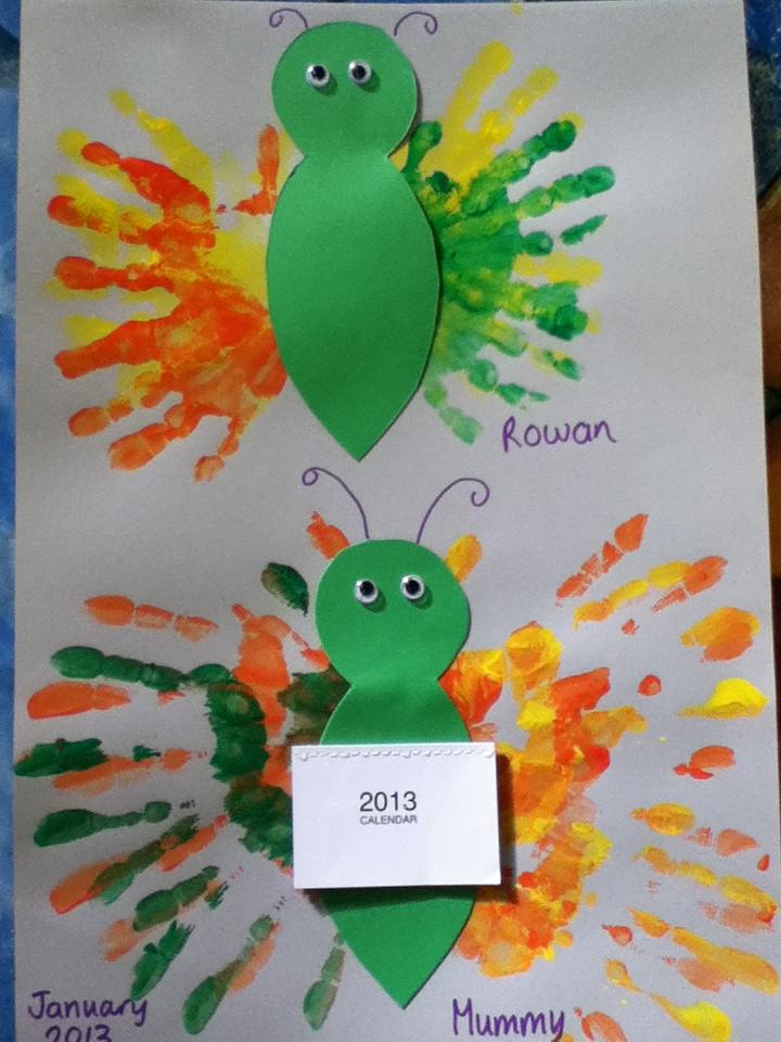 handprint animal bug painting with babies