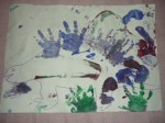 Dinosaur handprint painting- with baby or toddler