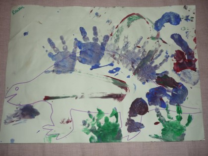 You are currently viewing Handprint dinosaur painting
