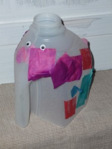 Read more about the article Elmer the Elephant plastic milk carton collage