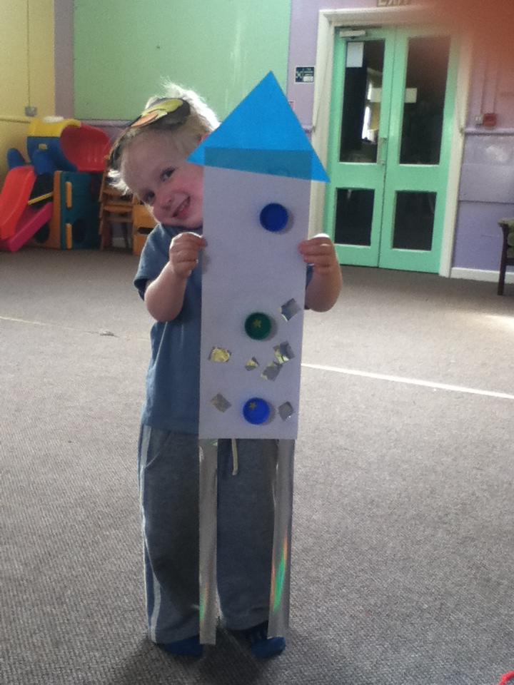 Rowan with his rocket. He only wanted 2 silver strips because they were the burners  ;)