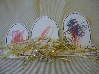 Easter eggs and straw- easy Easter collage