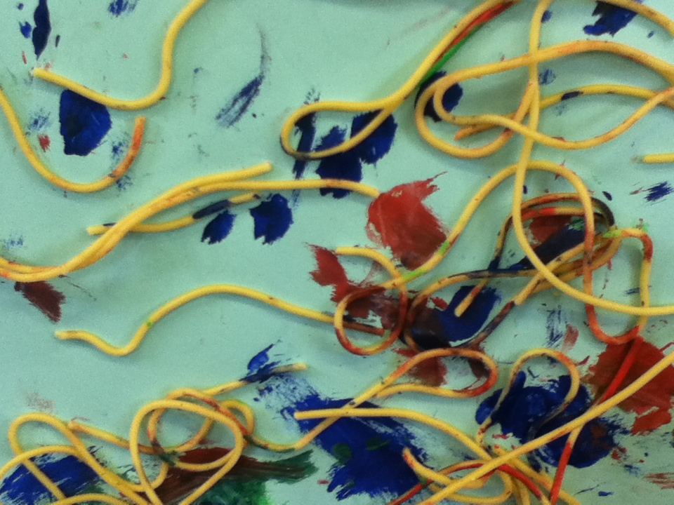 Spaghetti picture: painting or messy play