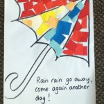 Easy umbrella collage. Glueing and sticking activity.