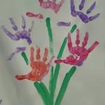 spring flower childs handprint picture