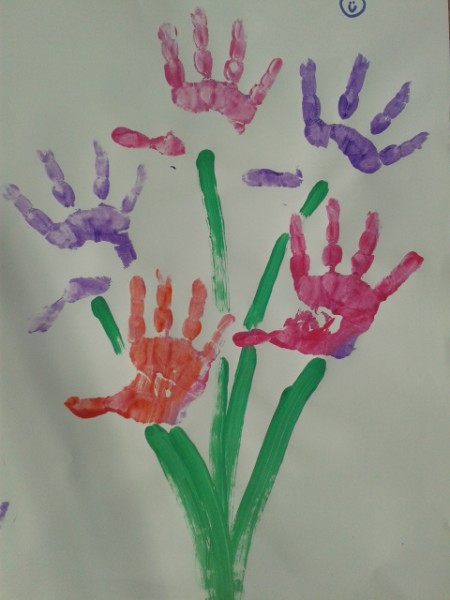 spring flower childs handprint picture
